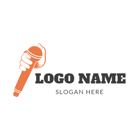 White Hand and Orange Microphone logo design