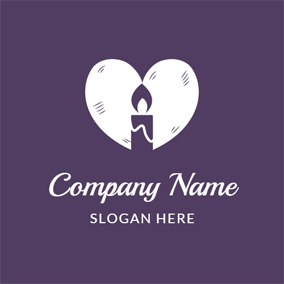 White Heart and Purple Candle logo design