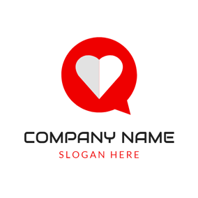 White Heart and Red Frame logo design