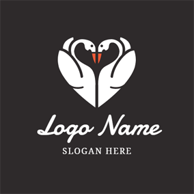 White Heart Shaped Swan logo design