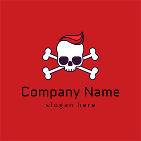 White Human Skeleton and Bone logo design