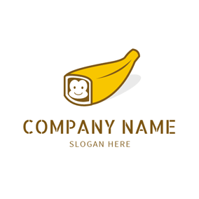 White Monkey and Yellow Banana logo design