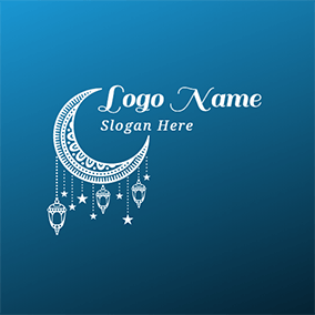 White Moon and Decoration logo design