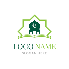 White Moon and Star logo design