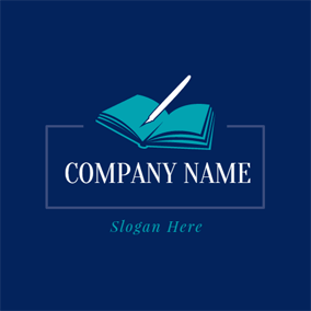 White Pen and Blue Book logo design