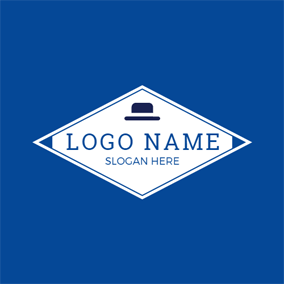 White Rhombus and Small Hat logo design