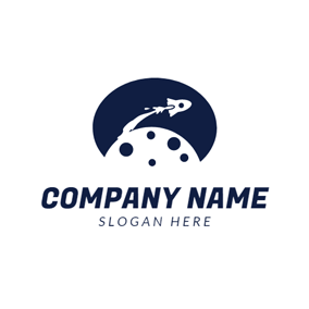 White Rocket and Blue Space logo design