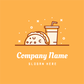 White Sandwich Hamburger and Drink logo design