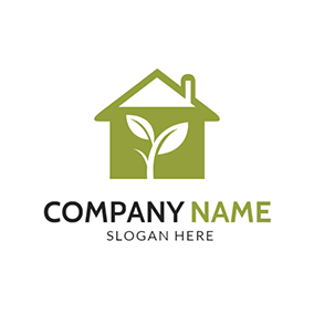 White Sapling and Green Home logo design
