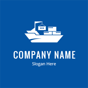 White Ship and Container logo design