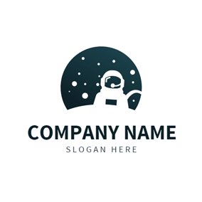 White Spaceman and Blue Space logo design