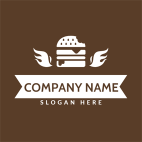 White Wing and Burger logo design