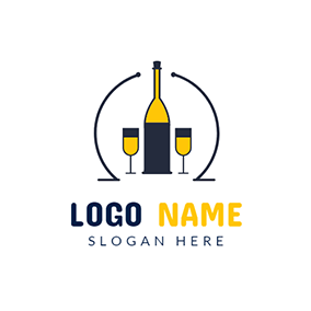 Wine Glass and Wine Bottle logo design