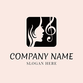 Woman Singer and Note Icon logo design
