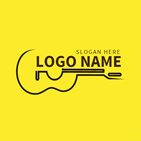Yellow and Black Ukulele Icon logo design