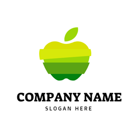 Yellow and Blue Apple logo design