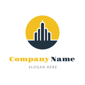 Yellow and Blue House logo design