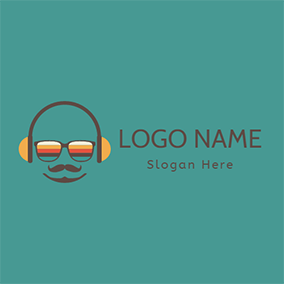 Yellow and Brown Headset logo design