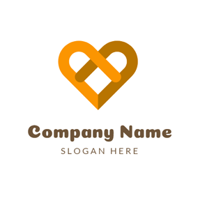Yellow and Brown Heart logo design