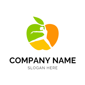 Yellow and Green Apple logo design