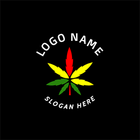 Yellow and Green Cannabis Icon logo design
