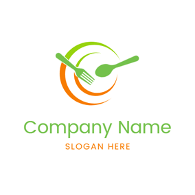 Yellow and Green Vegan Food logo design