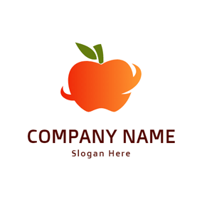 Yellow and Orange Apple logo design