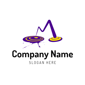 Yellow and Purple Disc Icon logo design