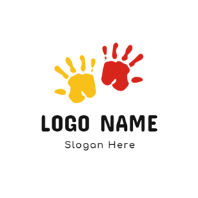 Yellow and Red Hand Print logo design