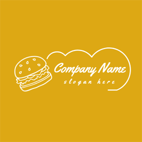 Yellow and White Burger logo design