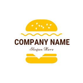 Yellow and White Double Hamburger logo design