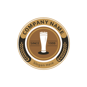 Yellow Badge and Beer Glass logo design
