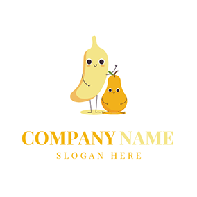 Yellow Banana and Pear logo design