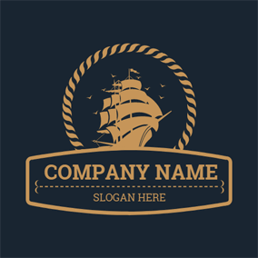 Yellow Banner and Sailboat logo design