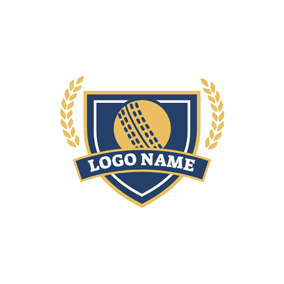 Yellow Branch and Blue Cricket Emblem logo design