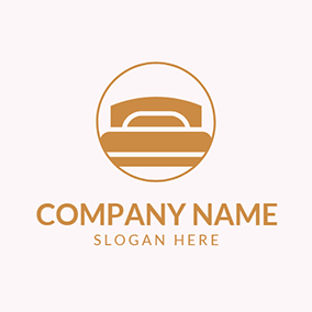 Yellow Circle and Bed logo design