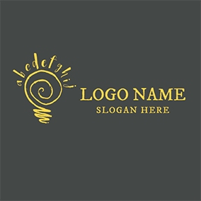 Yellow Circle and English Letter logo design