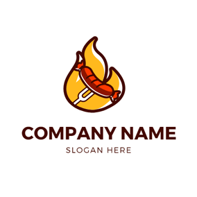 Yellow Fire and Roast Sausage logo design