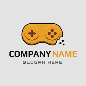 Yellow Gamepad and Biscuits logo design