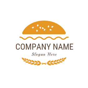 Yellow Hamburger and Wheat logo design