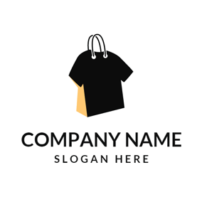 Yellow Handbag and Black T Shirt logo design