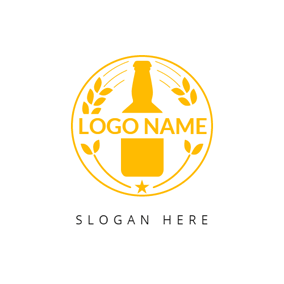Yellow Leaf and Beer Bottle logo design