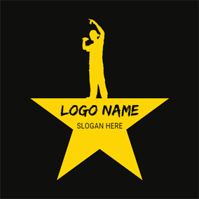 Yellow Stage and Singer logo design