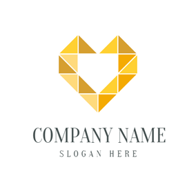 Yellow Triangle and Heart logo design