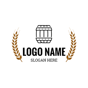 Yellow Wheat and Black Barrel logo design