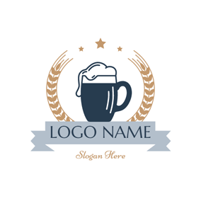 Yellow Wheat and Blue Beer Glass logo design