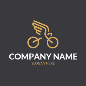 Yellow Wing and Simple Bike logo design